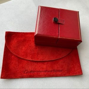 Red Jewelry Suede Folded Pouch and Snap Button Box